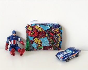 Zippered Coin Pouch - Small Marvel Comics Coin Purse - Captain America - Comic Book Style - Change Pouch - Gift Card Holder - Iron Man