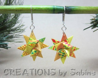Christmas Paper Star Earrings, Origami Silver Tone Metal Nickel Free Lever Back Hooks Red Green Yellow Orange Holidays READY TO SHIP (19)