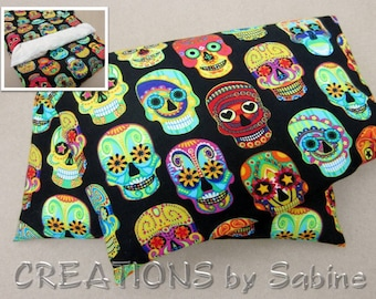 Microwave Corn Pillow, Therapy Corn Pack Hot Cold Bag With Washable Cover Colorful Sugar Skulls Tattoo Skull Faces Halloween (499)