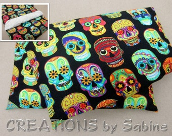 Microwave Corn Pillow Therapy Corn Pack Hot Cold Bag With Washable Cover Colorful Sugar Skulls Tattoo Skull Faces Black Heating Pack (499)