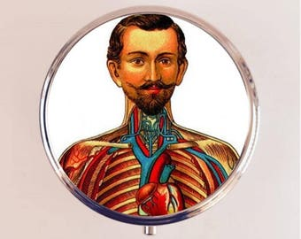 Victorian Anatomy Man Pill Box Case Pillbox Holder Trinket Stash Box Medical Oddity Anatomical