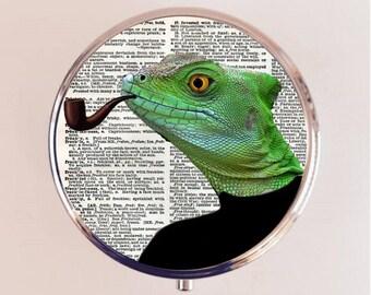 Lizard Man Pill Box Case Pillbox Holder Stash Trinket Box Anthropomorphic Animal Art Reptile