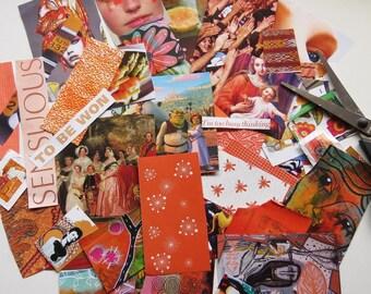 Collage kit, color coordinated, ORANGE, art kit, paper goodies, clippings, journaling, scrapbooking