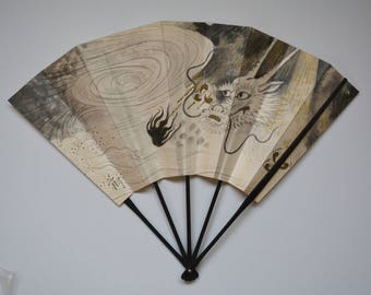 Decorative fan, bamboo and paper card, Japanese 'ohgi' sensu, made in Kyoto #4