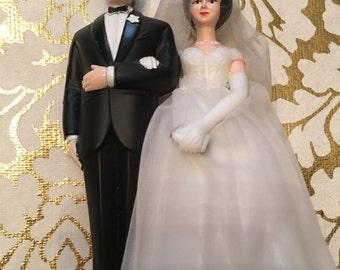 Vintage Wedding Cake Topper Bride & Groom
