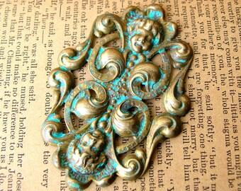 Large Art Nouveau Style Brass Embellishment - Brass Ornament - Stamped Brass