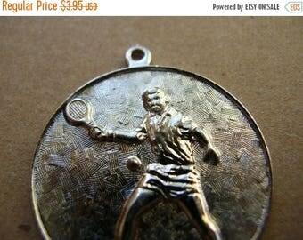 Vintage Silver Tennis Medal - Vintage Tennis Pendant - 28mm Pendant - Vintage Medal - Brass Tennis Medal