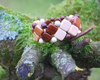oak plum birch wood bracelet, eco friendly, country style, rustic wedding, brown white bracelet, boho hippie wooden bracelet, square