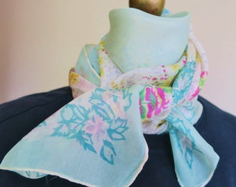 1940s floral silk scarf, square silk scarf, romantic silk scarf, roses scarves, pale aqua silk, hand rolled, 40s hair wrap, silk neckerchief