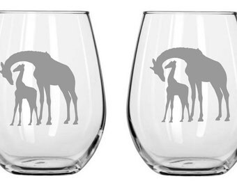 Giraffe Sand Carved Glass FREE Personalization