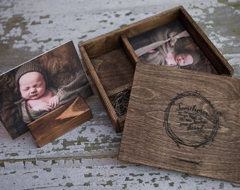 5x7 by 5 inches deep - Wood print box with photo stand and enough space for 5x7 prints and usb drive - (spanish moss included)