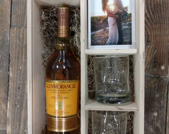 Whisky or Wine Box with slide lid - area for a USB - 4x6 prints and 2 glasses (box only - glasses not included)