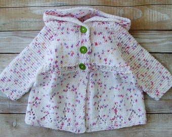 Baby Girls Clothes - Hand Knitted Cotton Hoodie for Toddler Girls - 100% Cotton Bright Confetti Print Girls Cardigan Size 2T Hooded Sweater