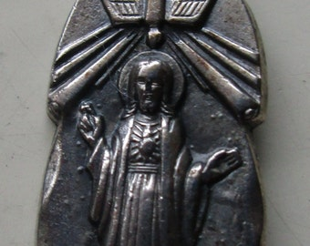 Beautiful Vintage Sacred Heart of Jesus Medal with Virgin Mary and Child on the Obverse Side - circa 1970s - made in Italy