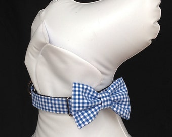 """Martingale Dog Collar Bow Tie Set 1"""" And 1.5. - Blue Gingham - Siz  S, M,  L, XL"""