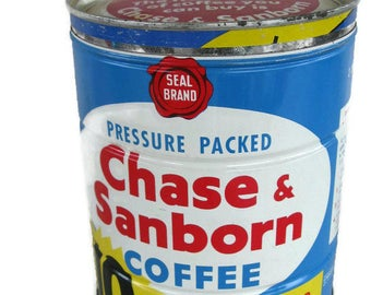 vintage coffee can Chase and Sanborn, tin kitchen decor