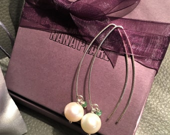 Long pearl and tourmaline earrings, wedding earrings, silver earrings, silver pearl earrings