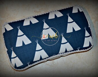 Navy Blue TeePee Themed Boutique Diaper Wipes Case - Tipi - Tepee Wipe Case - Indians - Tribal - Baby Boy Wipe Case - Crayon Case - Car Case