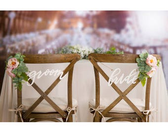 Bride and Groom Chair Sign Chair Signs Groom and Bride Sign Rustic Wedding Sign Decor Rustic Signs Decorations Wedding Photo Props