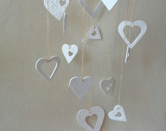 Wedding Clay Mobile, Garden Wedding Decor, Wedding Decoration, Wedding Hearts garland, Love Garland,