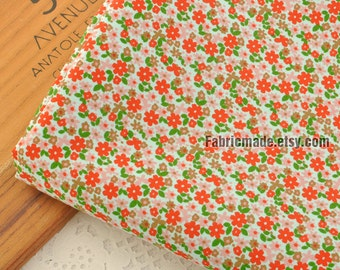 Little Red Flower Cotton Fabric,  Shabby Chic Tiny Floral Cotton Fabric  - 1/2 Yard