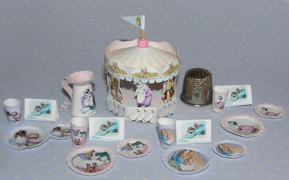 Beatrix Potter party, DIY kit from paper in miniature for the Doll House, Doll House, dollhouse miniatures