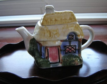 Small teapot replica of English Cottage with thatched roof china teapot collectible kitchen decor home decor