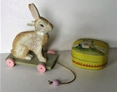 Vintage Bunny Rabbit Easter decor, painted lacquered rabbit wood box, Wood carved bunny pull toy, Easter basket, Nursery decor, gift idea