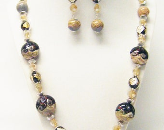 Multi Color Lamp Work Disc w/Round Amber Swirl Glass Bead Necklace/Earrings