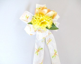 Dragonfly gift bow, Gift wrap bow, Summer wreath bow, Bow for spring wreath, Gift bow, Floral gift bow, Bow for him, Gift for her,  (HB108)