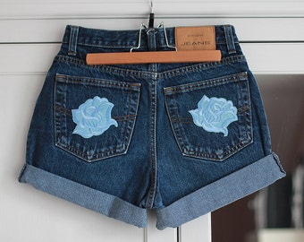 High Waisted Shorts Denim Vintage Rolled Up Cuffed Cut Off Jeans Dark Blue Color Patches Flower Summer Clothing Women Girls W26 / Small Size