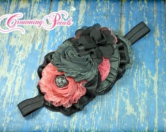 Black, Coral, Grey Hair Accessory, Gray Salmon Headband, Charcoal Coral Pink Hair Clip, Fabric Flower Hair Piece, Dark Grey Hair Accessories