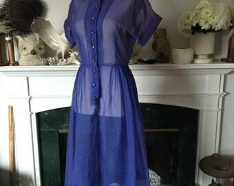 50s Blue Swiss Dot Rhinestone Button Dinner Dress