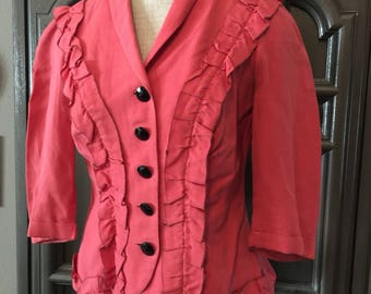 40s Coral Ruffled Dress Jacket