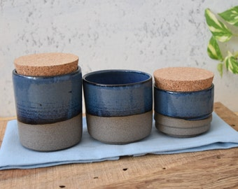 Kitchen Pottery 3 Canisters Set, Set Of 3 Ceramic Jars, Sugar Coffee Spices  Jar