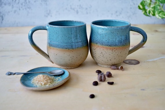 Pottery Coffee Mugs Set Set Of Two Mugs Large Turquoise Mug