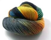 hand dyed sock yarn - Hand painted Sock yarn  - Sock Yarn Fingering -  orange, black, green blue, grey - knitting - hand dyed yarn - OOAK