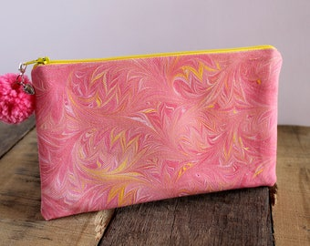 Pink Cosmo Hand Marbled Zip Pouch, Cosmetic Pencil Makeup Bag Pouch Case for Kids College School Teens Women Organize