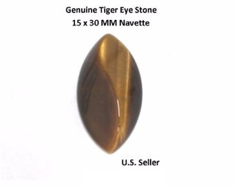 100% Natural Tiger Eye Cabochon 15 x 30 MM Navette (Pack of 1)