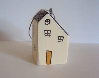 Miniature House Ornament - Tiny Hanging Folk Figurine - Little Wooden Cottage Ornament - Decorative Painted Wood Houses - Minimalist Decor