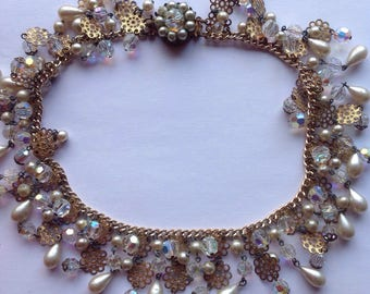 Vintage Extravaganza Choker Necklace/Aurora Borealis Beads/Open Metal Work Details/Faux Pearl Beads/Box Clasp