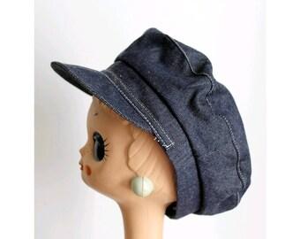 Vaurien vintage french denim Cap sailor /vintage french worker cap