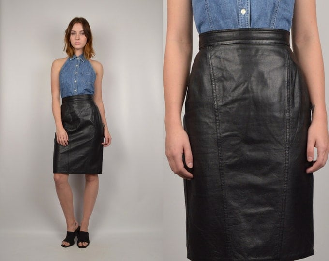 80's Leather High Waist Pencil Skirt minimalist vintage