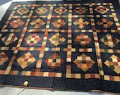 Merry Mosaic Quilt, Kansas Troubles fabrics, Navy, Black, Gold, Green, Red, Brown, Tan, Handmade, MaterialThings2, 68x82 inches