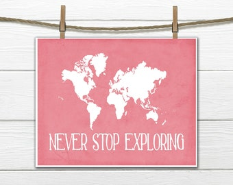 World Map Print - Nursery Wall Decor - Custom Colors