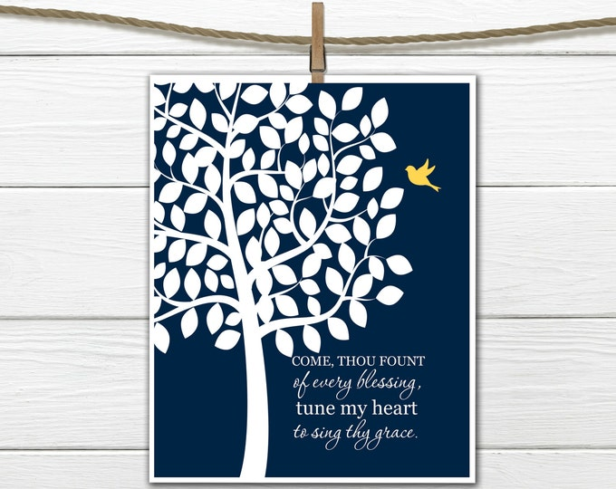 Christian Hymn Wall Art - Come Thou Fount of Every Blessing - 8x10 - Sing Thy Grace INSTANT DOWNLOAD