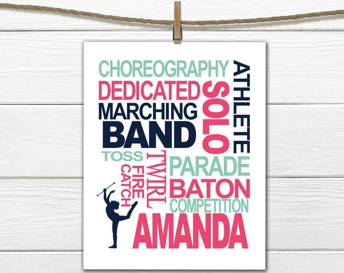 Baton Twirling -  Personalized - Twirler Print - Canvas Available