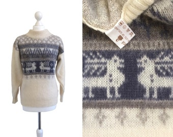 Icelandic Reindeer Sweater - Vintage Pure New Wool Jumper - Alafoss Ltd - Icewool Wool Jumper - 1980's Christmas Jumper