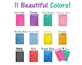 50 6x10 Hot Pink, Purple, Teal, Blue, Black, Yellow, Orange, Pastel Pink, Red, 6x9 Poly Bubble Mailers, Padded Mailing Shipping envelopes #0