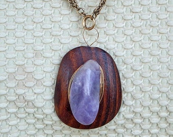 Wooden Pendant -Amethyst with Gold Wire